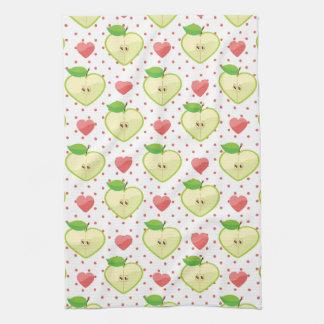 Herz-Äpfel mit rosa Tupfen und Herzen Küchenhandtücher