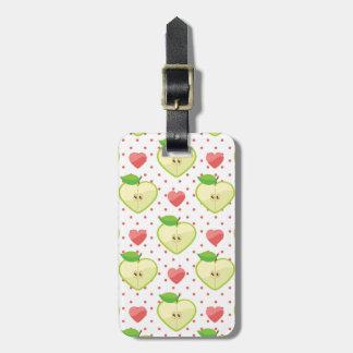 Herz-Äpfel mit rosa Tupfen und Herzen Kofferanhänger