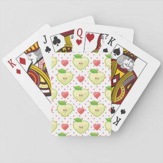 Herz-Äpfel mit rosa Tupfen und Herzen Pokerkarten