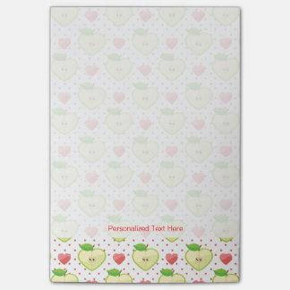 Herz-Äpfel mit rosa Tupfen und Herzen Post-it Klebezettel