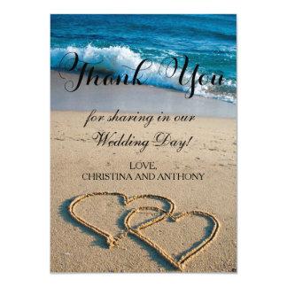 Herz auf der Ufer-Strand-Hochzeit danken Ihnen zu Karte