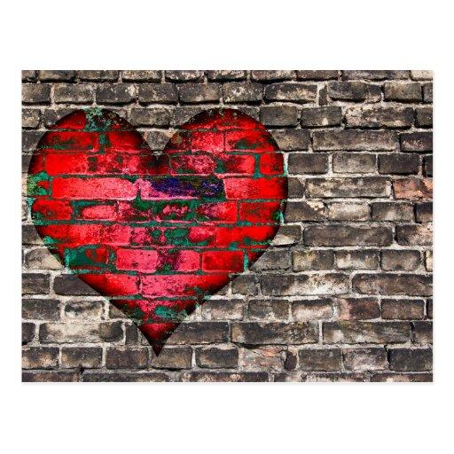 Herz auf der Wand Postkarte