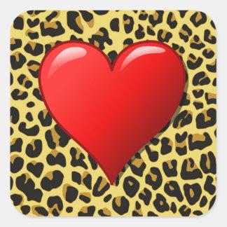 Herz auf Gepard-Druck-Aufkleber Quadratischer Aufkleber