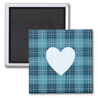 Herz auf karierten Blues II Quadratischer Magnet
