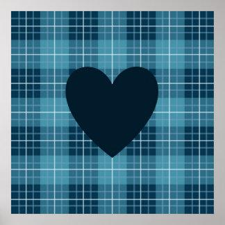 Herz auf karierten Blues Poster