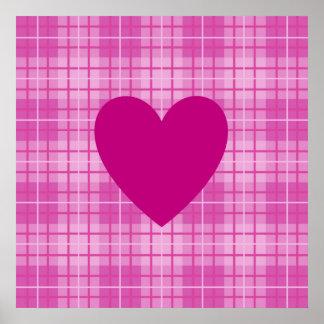 Herz auf karierten Rosa I Poster