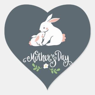 Herz-Aufkleber der Mutter-und Baby-Häschen-Mutter