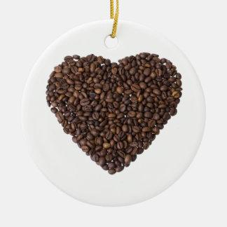 Herz aus Kaffeebohnen Rundes Keramik Ornament