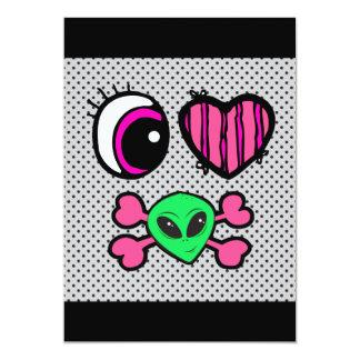 Herz-Außerirdische des emo Augenherzens I 12,7 X 17,8 Cm Einladungskarte