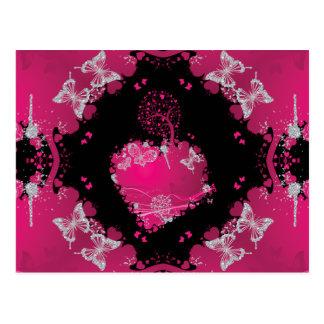 Herz-Baum der Liebe u. der Schmetterlinge Postkarte
