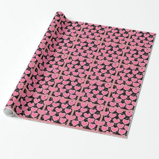 Herz-Blasen - Rosa auf Schwarzem Einpackpapier