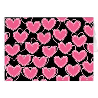 Herz-Blasen - Rosa auf Schwarzem Grußkarte
