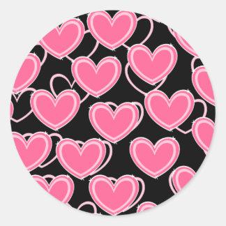 Herz-Blasen - Rosa auf Schwarzem Runder Aufkleber
