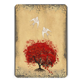 Herz-Blatt-laden rote Baum-Tauben-Liebe-Vogel-Hoch Individuelle Einladungskarte