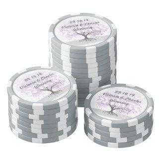 Herz-Blatt-Lavendel-Baum-Vintage Hochzeit Poker Chips