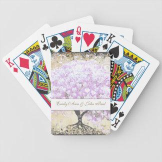 Herz-Blatt-Lavendel-Baum-Vintage Vogel-Hochzeit Bicycle Spielkarten