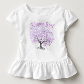 Herz-Blatt-Lavendel-Baum-Vintage Vogel-Hochzeit Kleinkind T-shirt