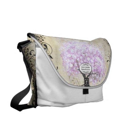 Herz-Blatt-Lavendel-Baum-Vintage Vogel-Hochzeit Kurier Tasche