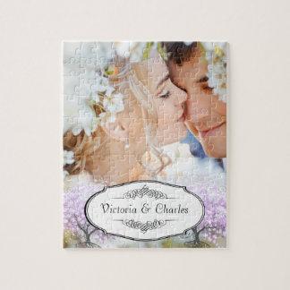 Herz-Blatt-Lavendel-Baum-Vintage Vogel-Hochzeit Puzzle