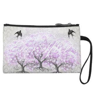 Herz-Blatt-Lavendel-Baum-Vintage Vogel-Hochzeit Wristlet