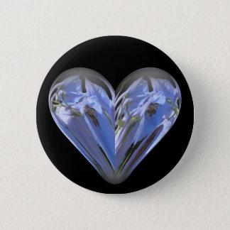 Herz Bluebell Runder Button 5,7 Cm