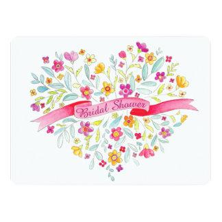 Herz-Blume Blumenstrauß-Kunst-Brautparty laden ein 16,5 X 22,2 Cm Einladungskarte