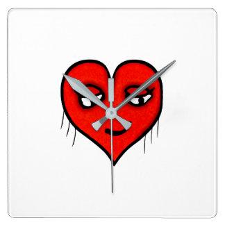 Herz-Charakter-Zeichnen Quadratische Wanduhr