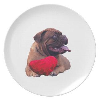 Herz Custom Dogue de Bordeaux Red Melaminteller