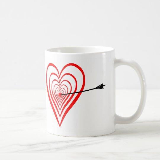 Herz Dartscheibe mit Pfeil Kaffeetasse