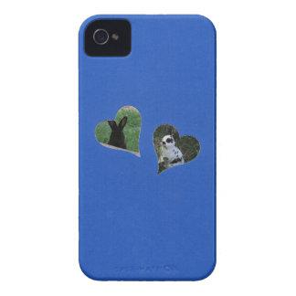 Herz des Blau-zwei addieren Foto-Rahmen iPhone 4 Cover