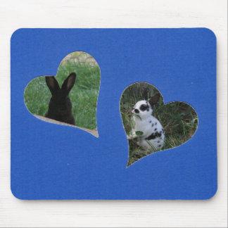 Herz des Blau-zwei addieren Foto-Rahmen Mousepads