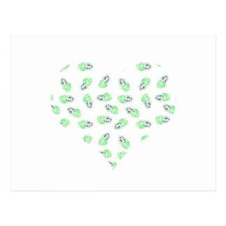 Herz des grünen Wasserfarbeentwurfs der Federn Postkarte