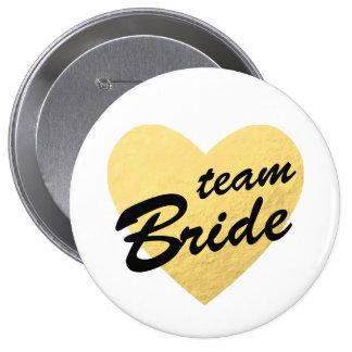 Herz des Team-Braut-Abzeichens | Gold Runder Button 10,2 Cm