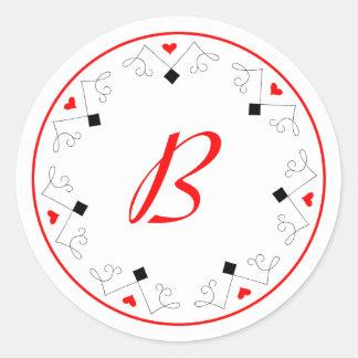 Herz-Diamant-Las Vegas-Spieler-Monogramm-Aufkleber Runder Aufkleber