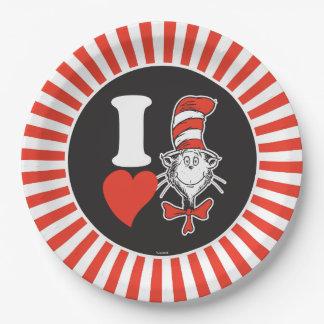 Herz Dr.-Seuss Valentine | I die Katze im Hut Pappteller