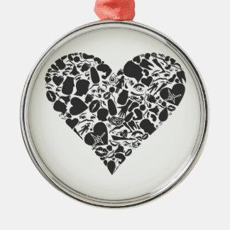 Herz eines Teils eines Körpers Silbernes Ornament