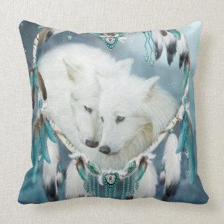 Herz eines Wolf-Kunst-Dekorateur-Kissens Kissen