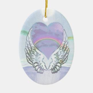 Herz, Engels-Flügel u. Ozean Ovales Keramik Ornament