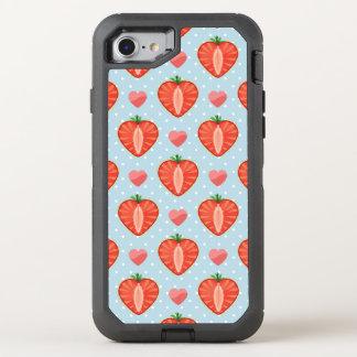 Herz-Erdbeeren mit Tupfen und Herzen OtterBox Defender iPhone 8/7 Hülle