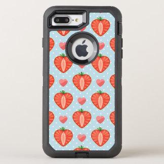 Herz-Erdbeeren mit Tupfen und Herzen OtterBox Defender iPhone 8 Plus/7 Plus Hülle