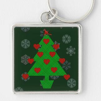Herz-Feiertags-Baum Silberfarbener Quadratischer Schlüsselanhänger