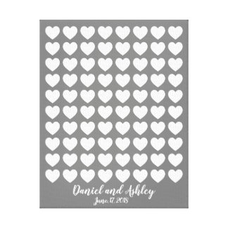 Herz-Fingerabdruck-Hochzeits-Gast-Buch Leinwanddruck