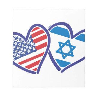 Herz-Flagge USA Israel Notizblock