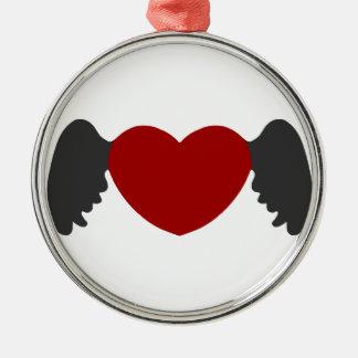 Herz-Flügel Grau-Rot Silbernes Ornament