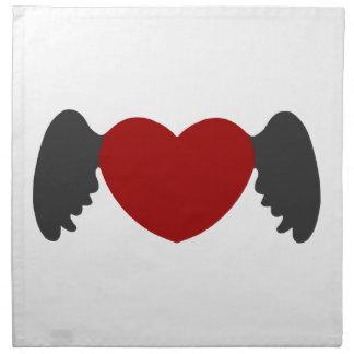 Herz-Flügel Grau-Rot Stoffserviette