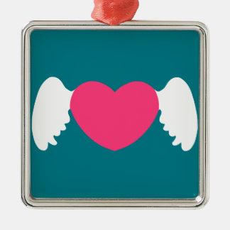 Herz-Flügel Weiß-Rosa Silbernes Ornament