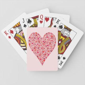 Herz-Form-hochrote Tupfen auf Rosa Pokerkarten