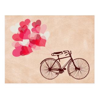 Herz-Förmige Ballone und Fahrrad Postkarten