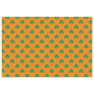 Herz-Förmiges Kleeblatt-Grün auf orange St Patrick Seidenpapier