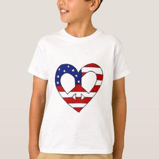 Herz-Friedens-USA-Flaggen-Symbol T-Shirt
